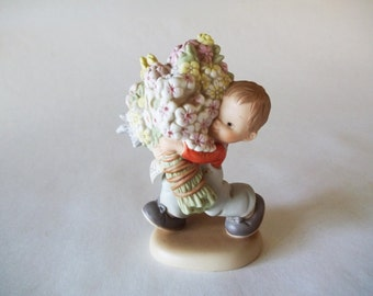 """Enesco Memories of Yesterday, """"Whole Bunch of Love For You""""  Lucie Attwell Figurine, Boy With Flowers, 1991"""