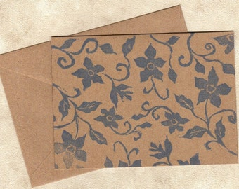 Hand carved stamped note cards printed on brown kraft cardstock - set of 6