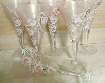 Vintage Handpainted Pink Roses Frosted Stemware Set of 6 Fluted Wine, Champagne Glasses, Home Decor Barware, Shabby Chic