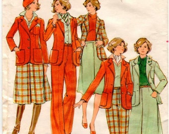Vintage UNCUT Butterick Pattern 4487 - Misses Semi-Fitted, Lined Jacket, A-line Skirt & Straight-Legged Pants - Size 12
