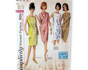 Vintage Sewing Pattern - Simplicity 5980 - 60s - Sleeveless Shift Dress / Size 12 - UNCUT
