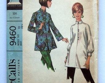 1968 Vintage Sewing Pattern - McCalls 9460 - MOD Nehru Blouse - Button Front Tunic / Size 10