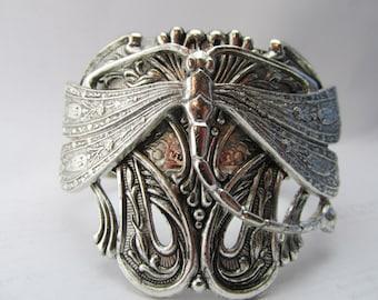 Dragonfly bracelet Art Deco Cuff Gorgeous Art Deco and vintage dragonfly silver vintage cuff