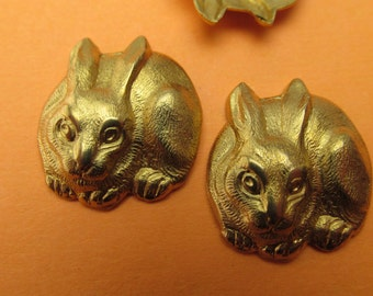 Bunny brass stamping embellishments jewelry parts Vintage supplies for jewelry making rabbits bunnys 3 pcs