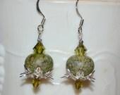 Green Lampwork Glass W/Swarovski Crystal Beaded Earrings