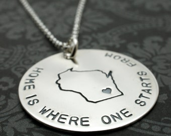 Home State Necklace - Home Is Where Your Heart Is Collection - Custom State Jewelry by EWD - Graduation Gifts for Her