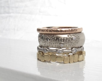 One of a kind white gold band, SALE 14kt recycled white gold and diamond wedding band, wide eternity ring