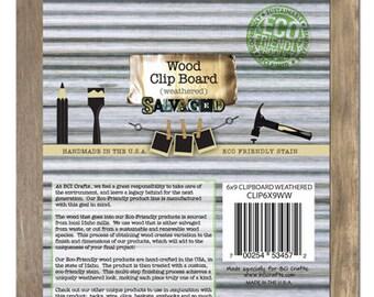 6x9 Clipboard -Weathered Wood