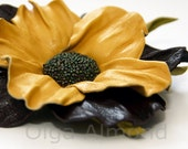 Leather flower. Leather brooch .Yellow and black-purple flower brooch .Fantasy Leather jewelry