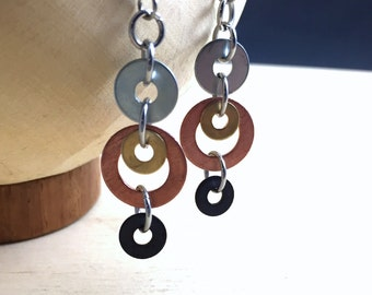 Mixed Metal Dangle Earrings Hardware Jewelry