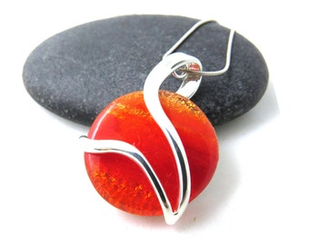 Fiery Orange Glass Necklace - Silver and Glass Necklace - Fused Dichroic Glass Necklace