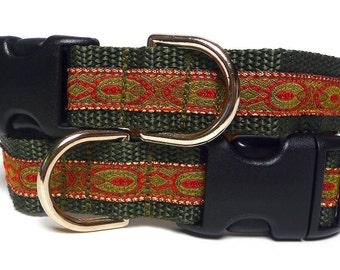 Dog collar, tag collar, buckle collar, OLIVE ELEGANCE, green collar, metallic collar, medieval collar, renaissance collar, olive dog collar