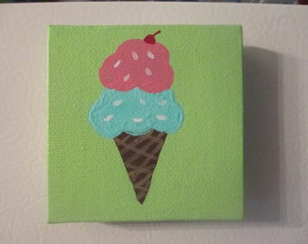 Ice Cream Cone Canvas Painting Magnet