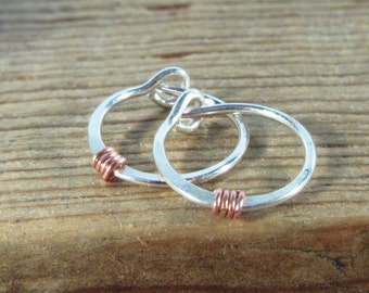 Hoop Earrings Silver Hammered & Wrapped Copper - Tragus Piercing, Rook Piercing, Daith Piercing, Helix Piercing, Cartilage Piercing