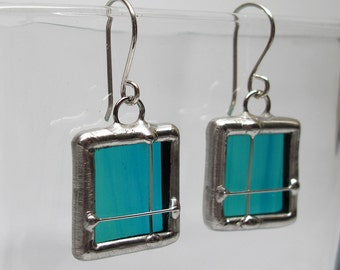 Aqua Crossing - Sterling Silver Stained Glass Earrings