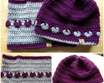 Pretty Girl's Hat and Cowl set in Purple and Grey, hearts, ready to ship