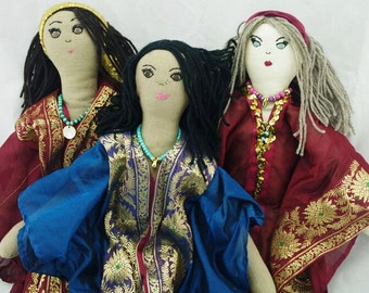 Bellydancers, 3 to choose from, Rag Doll, Vegan, 19 inches, OOAK, VIntage Upcycled Fabrics, Handmade in Australia