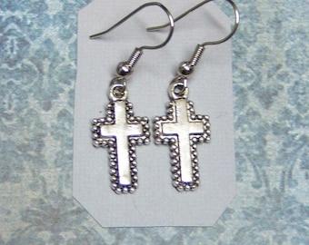 Silver Cross Earrings/Faith Collection