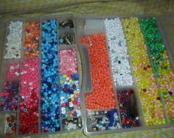 2 LARGE full containers of Pony Beads and Miscellaneous finds