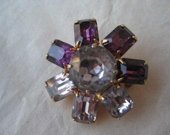 Purple Rhinestone Flower Brooch Clear Gold Vintage Pin Violet Amethyst