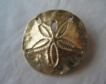 Sand Dollar Gold Brooch Vintage Pin Napier