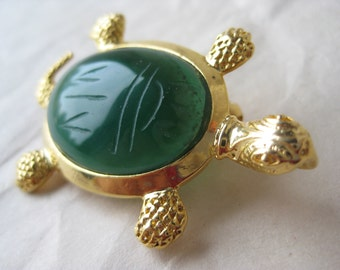 Turtle Scarab Green Stone Gold Brooch Cab Tortoise Vintage Pin