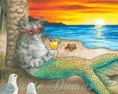 Art print 8x10 from painting Cat Mermaid 25 Ocean Sea Sunset fantasy by Lucie Dumas