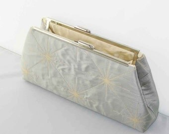 CLEARANCE SALE - Ready to Ship - Modern Clutch - Pale Blue Silk Clutch