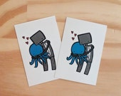 Temporary Tattoos, Robot Hugging Octopus - Pack of 2