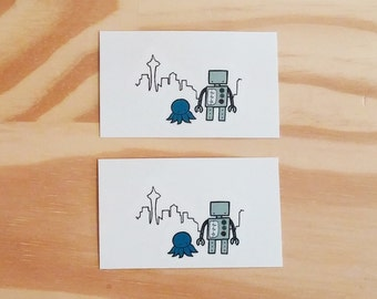 Temporary Tattoos, Seattle Robot - Pack of 2