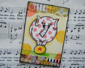 Ridiculously happy mixed media elephant artist trading card