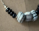 Blue and Gray Boulder Opal Necklace, Sterling Silver, Blue Iolite, Faceted Gemstone Chunky Beads,  Boho Bohemian