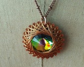 Spiro Pendant, Copper, Wire Wrapped, Green Vitrail, Iridescent Swarovski Crystal Rivoli, Steampunk