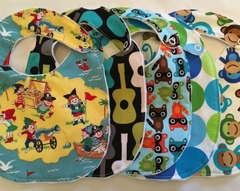 Baby boy boutique style gift set 5 bibs with minky backing and snap closures READY TO SHIP