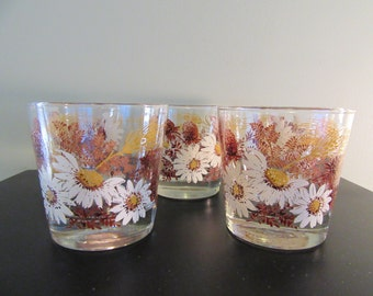 5 Lowball Libbey floral glasses- mid century, nicely weighted, very fine condition, beautiful