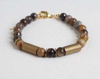 Bracelet: Tiger Eye Beads and Brass Tubes