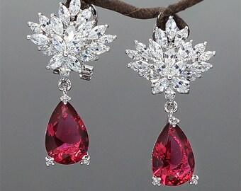 Mother of Brides Earrings Red Crystals Earrings Ruby Color Dangle Earrings Gift for Her Everyday Earrings Red Wedding Earrings