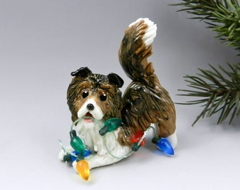 Shetland Sheepdog Collie Christmas Ornament Sable Lights Porcelain