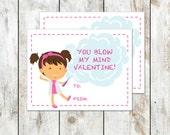 Brunette Mad Scientist Valentine - Class Valentine Printable - You Blow My Mind Valentine - Girl Scientist Valentine