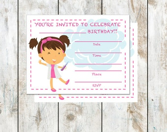 Brunette Scientist Birthday Party Invitation Instant Download - Fill in the blanks Party Invitation - Scientist Birthday - Science Birthday