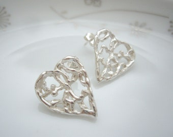 Silver filigree heart earrings, Heart post earrings, Heart jewelry gift, Sterling silver heart earrings, Tree of life, Unique silver jewelry