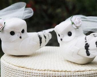 White Owl Wedding Cake Topper: Bride & Bride Love Bird Cake Topper -- LoveNesting Cake Toppers