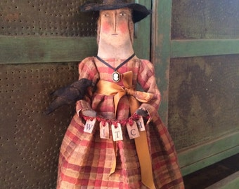 Primitive Fall Cameo Witch and Crow Doll Folk Art Joy
