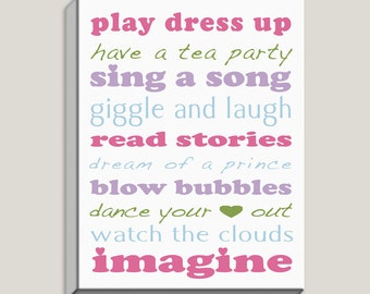 Inspirational, Play Dress Up, Dance Your Heart Out, Imagine, Single Wrapped Canvas, Art Print, Kids Rooms, Quotes, Positive, Ready to Hang