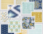 RUSH - Aqua Custom Crib Baby Bedding Set, Aqua Blue, Navy and Mustard Yellow - Aztec Wanderer in Ocean