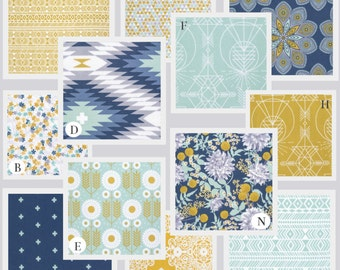 Aqua Custom Crib Baby Bedding Set, Aqua Blue, Navy and Mustard Yellow - Aztec Wanderer in Ocean