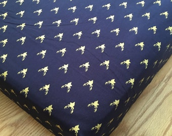 Woodland Navy Crib Sheet in Navy and Gold Buck Deer Fitted Crib Sheet - Ready to Ship