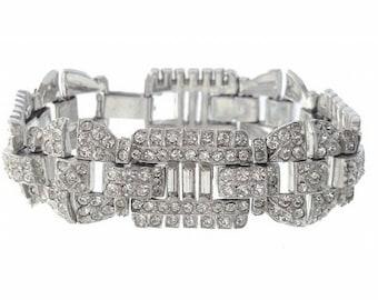Antique Jewelry, Art Deco Bracelet, Fine Vintage Rhinestone Link, 1920s Antique Art Deco Wedding Jewelry, Bridal Jewelry