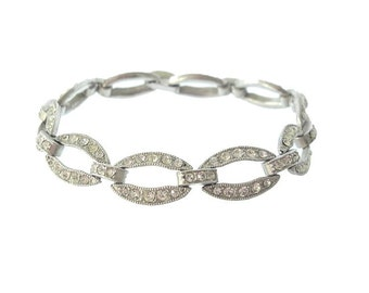 Rhinestone Oval Bracelet, 1920s Art Deco Bracelet, Fine Antique Art Deco jewelry, Vintage Wedding Jewelry, Art Deco Jewellery