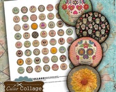 Day of the Dead Collage Sheet - 20mm Collage Sheets - 20mm Circle Images - Jewelry Supplies - Printable Jewelry Paper - Sugar Skull Images